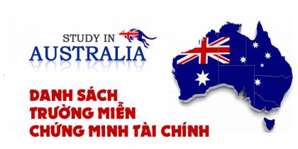 Danh sách các trường miễn chứng minh tài chính du học Úc